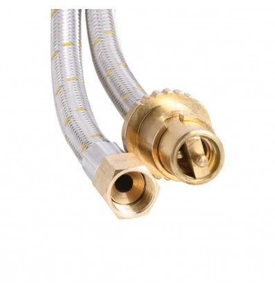 Bromic 1.5m Stainless Steel Braided Natural Gas hose 3/8 BSP with Bayonet Coupling