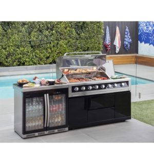 GALAXY BLACK BBQ AND DOUBLE DOOR FRIDGE MODULE