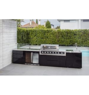 GALAXY BLACK BBQ, DOUBLE DOOR FRIDGE, DRAWER AND SINK MODULE
