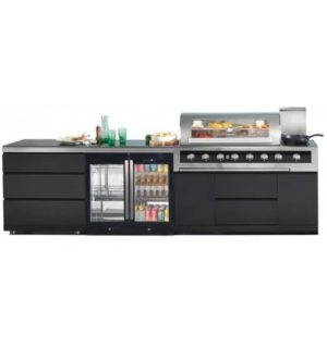 Gasmate Galaxy Black 6 Burner  BBQ w/ 3 Drawer Module,2 Door Premium Bar Fridge and 2 Door Bar Fridge Top Kitchen Package