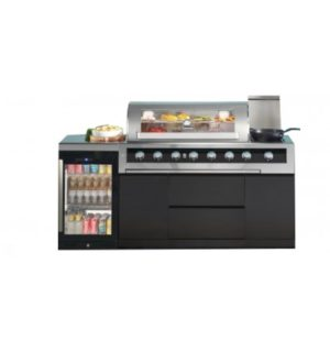 Gasmate Galaxy Black Series 6 Burner  BBQ 2 Door Fridge,Fridge Top Kitchen Package