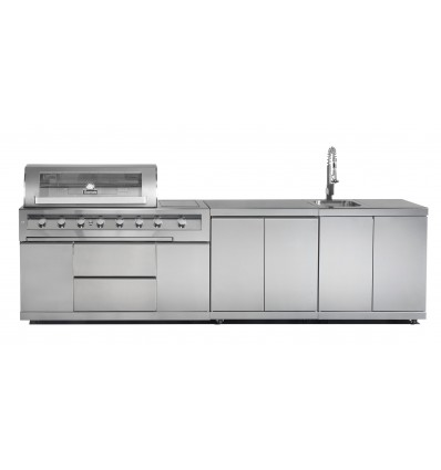 GASMATE GALAXY OUTDOOR KITCHEN WITH BBQ, CUPBOARD AND SINK UNIT