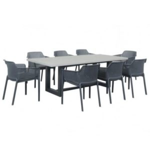 GEO CEMENT 9 PIECE DINING SETTING WITH BAILEY DINING CHAIRS