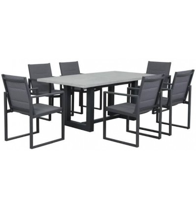 GEO CEMENT 9 PIECE DINING SETTING WITH COLADA DINING CHAIRS