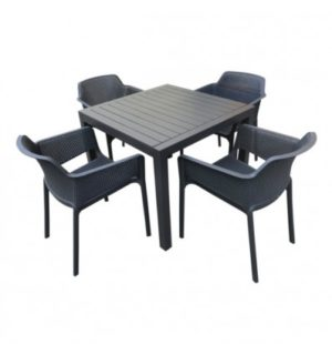MatZO 5PCE SETTING WITH BAILEY RESIN CHAIRS