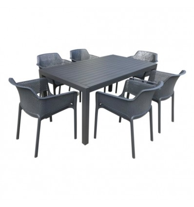 MatZO 7PCE SETTING WITH BAILEY RESIN CHAIRS