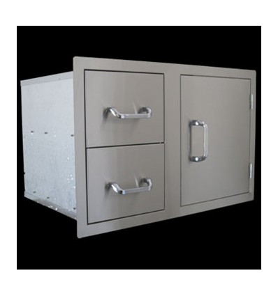 Stainless Steel Single Door with 2 Draws